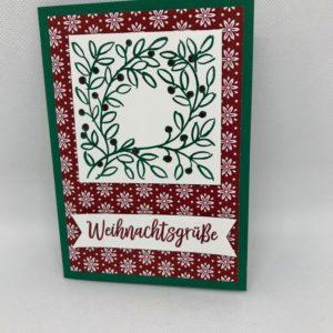 Karte Weihnachtsgrüße rot/grün